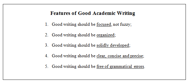 Principles of good writing essay